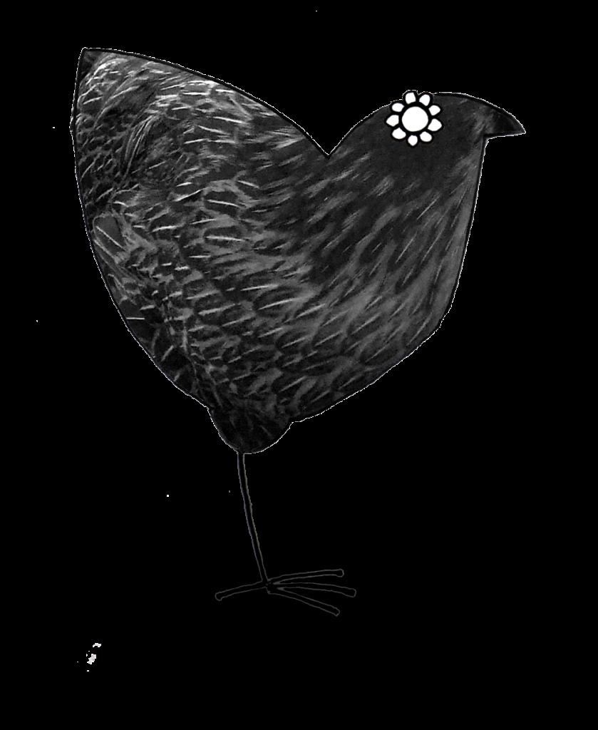 Illustration of a black hen