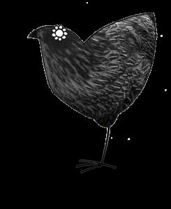 Stylised illustration of a blck hen